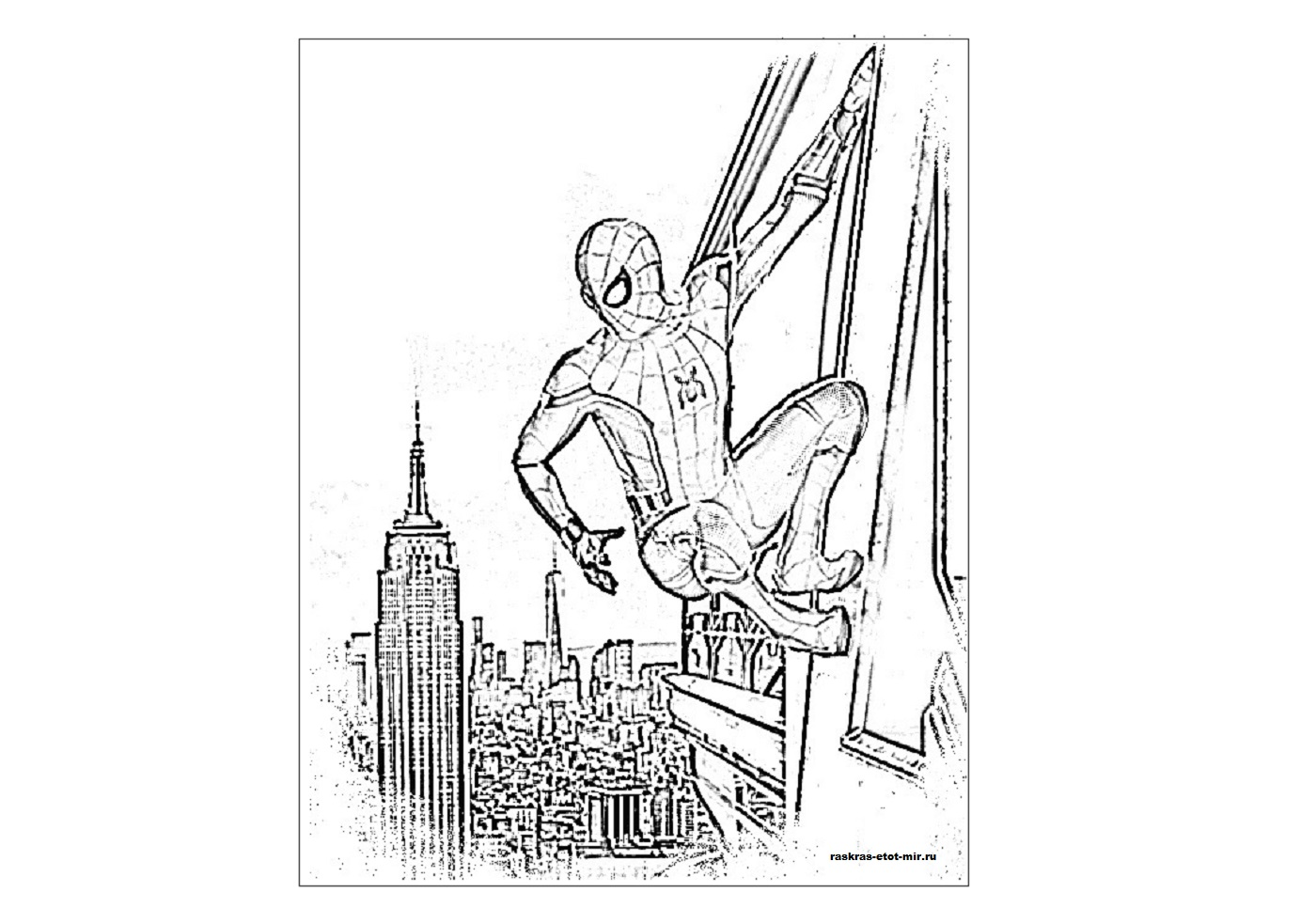 скачать бесплатно раскраски человека паука