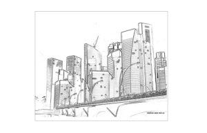 Раскраска город многоэтажный