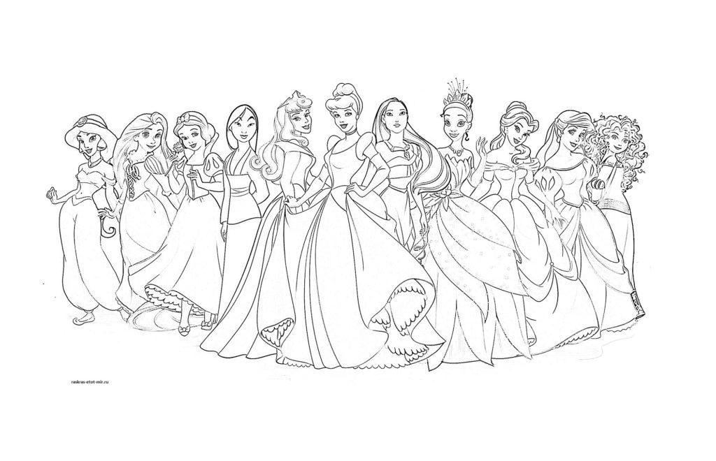 Раскраска принцесс Диснея