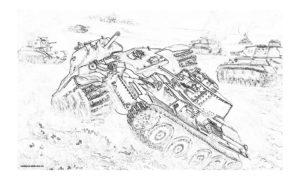 Раскраска танковое сражение времен ВОВ