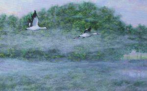 Рисунок журавлей над водой