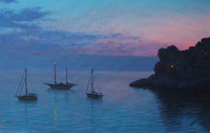 Рисунок заката на море