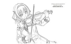 Девочка аниме со скрипкой