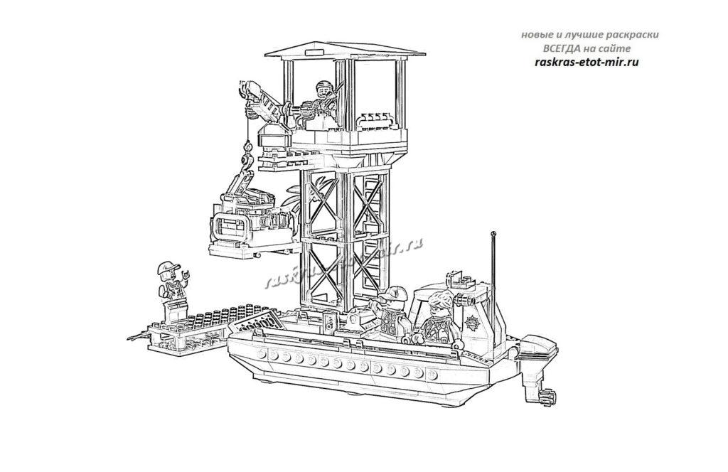 Лего Сити лодка и вышка