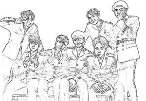 Раскраска группа БТС
