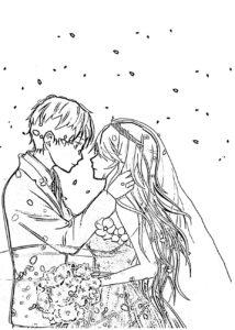 Раскраска аниме пара