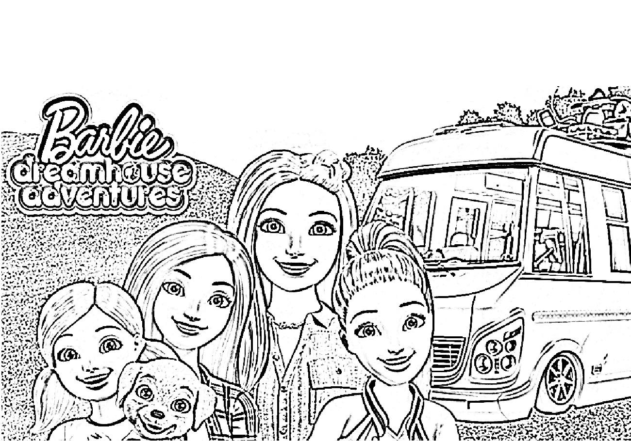 Распечатать бесплатно раскраски Барби в Доме мечты