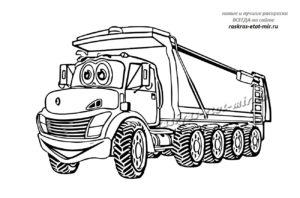 Раскраска грузовой машины для детей