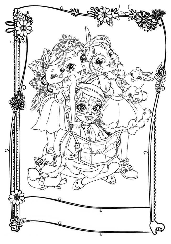 Раскраска Подружки Энчантималс