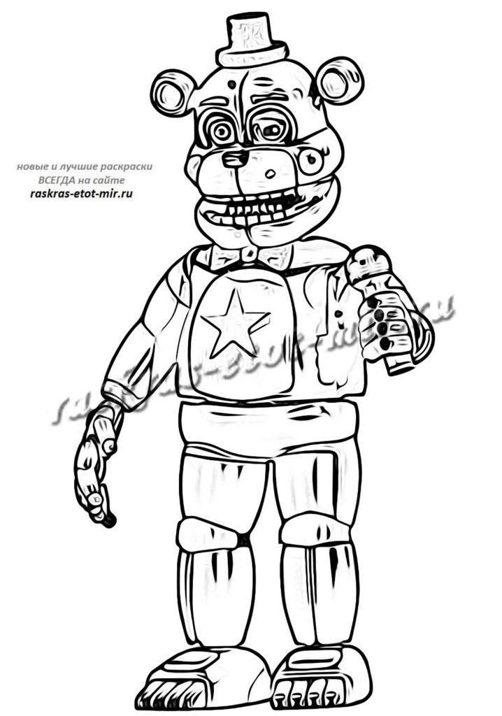 Раскраска аниматроники ФНАФ